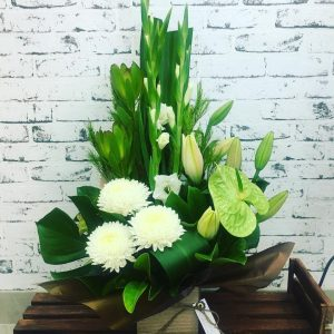 White and Greens $85 Arrangement